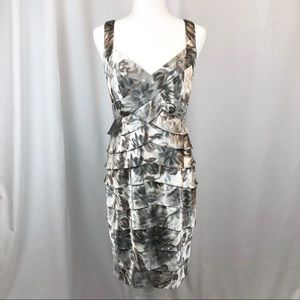 London Times metallic bandage midi cocktail dress